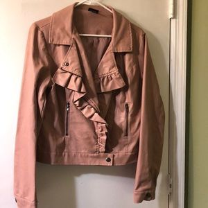 Rue21 Ruffled Faux Leather Jacket Size L